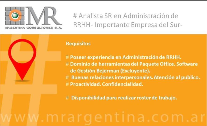 Nueva Búsqueda- Analista Sr. Administración de RRHH.