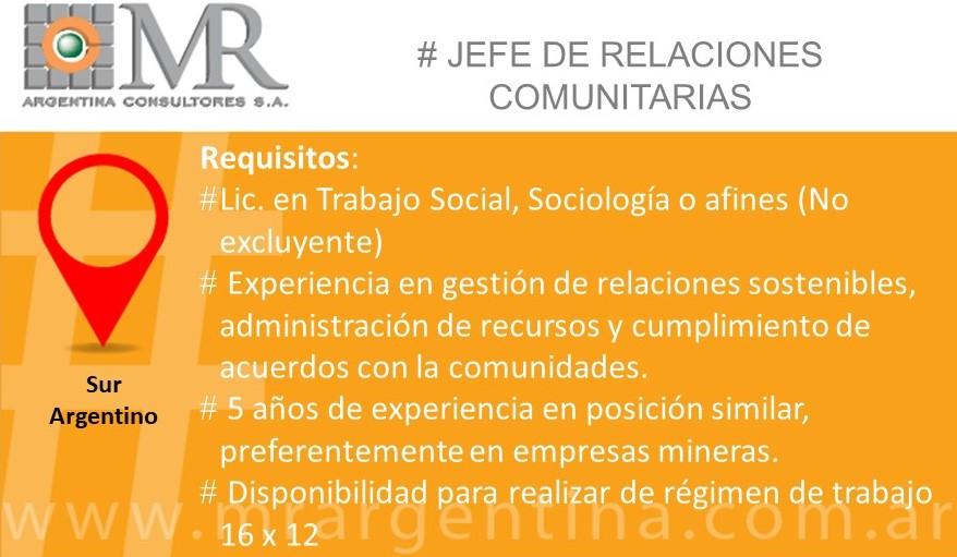 Búsqueda Cerrada – JEFE DE RELACIONES COMUNITARIAS