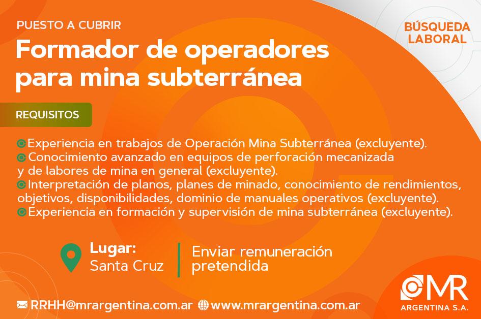 FORMADOR DE MINA SUBTERRÁNEA