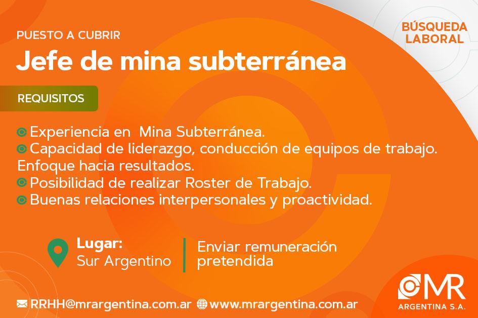 JEFE DE MINA SUBTERRÁNEA
