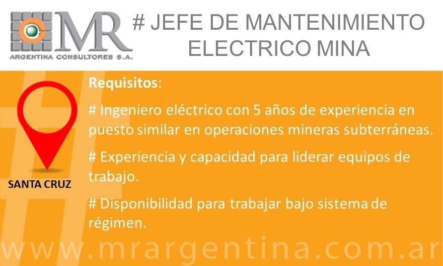 Búsqueda Cerrada – JEFE DE MANTENIMIENTO ELÉCTRICO MINA UG